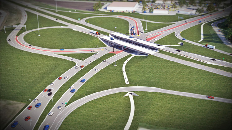 Design visualization of interstate and overpass.